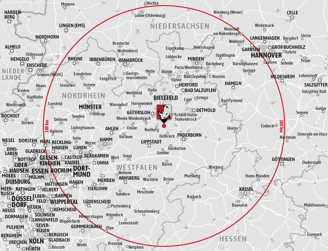 Liefergebiet Rhino Torsysteme OWL Südwestfalen Ruhrgebiet Münsterland